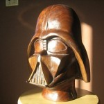 Amazing Hand Crafted Walnut Wood Darth Vader Sculpted Helmet!