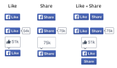 Facebook's redesigned Like and Share buttons, launching today